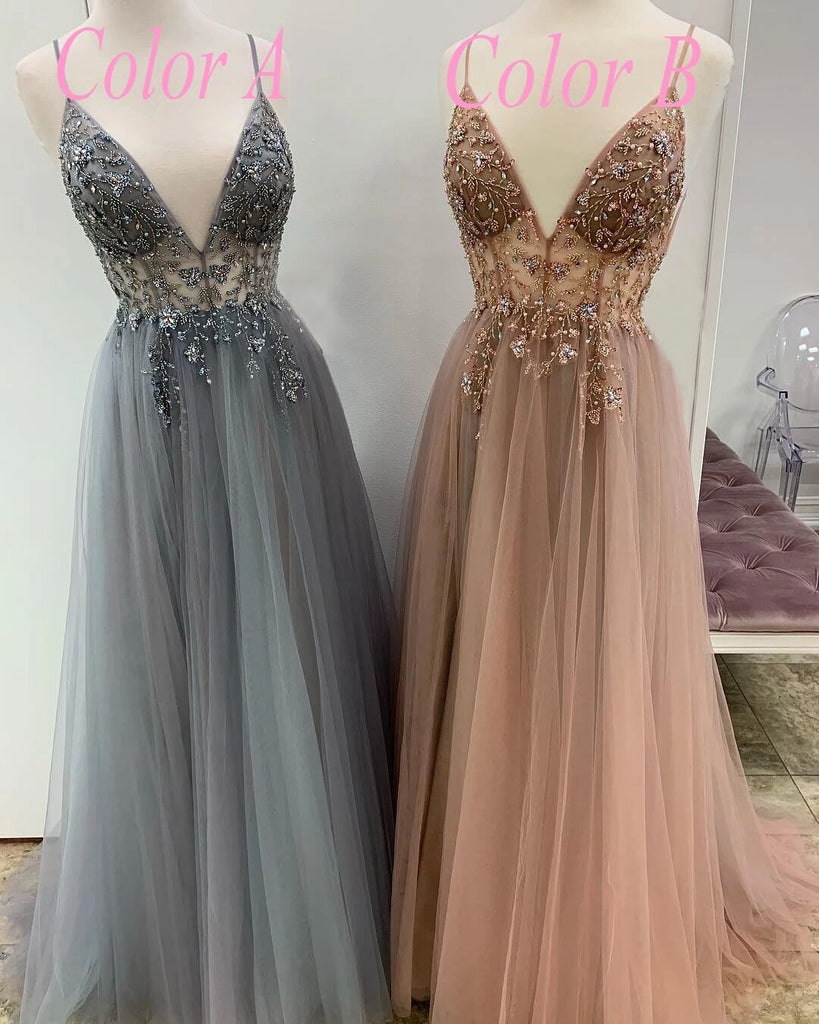 Chic Spaghetti Straps Long A-line Hot Selling Pretty Prom Dresses For Women M966