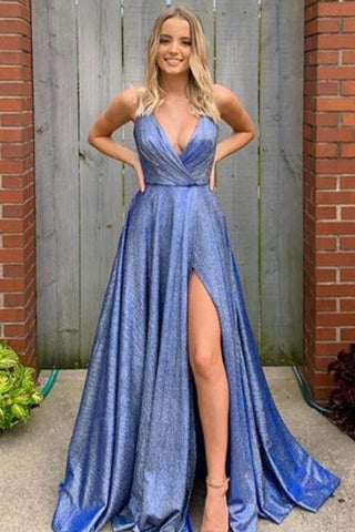New Arrival Spaghetti Strasp V-neck Long A-line Front Split Pretty Prom Dresses M976