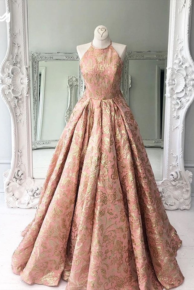 Chic Modest Halter Long Princess Prom Dresses Beautiful Prom Gowns M969