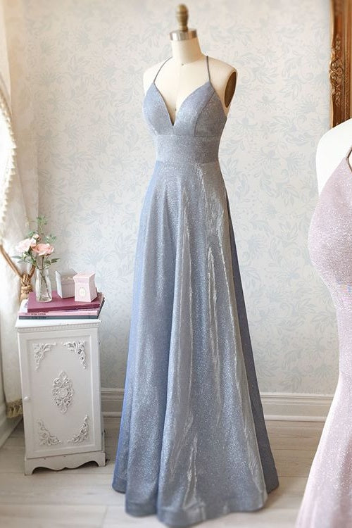 Unique Spaghetti Straps Long A-line Backless Prom Dresses For Teens M970