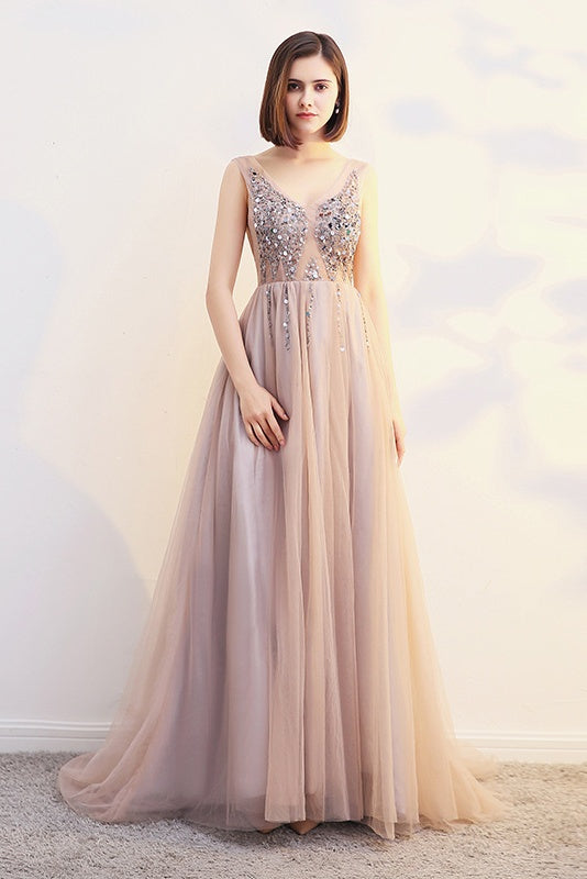 Chic V-neck Beading Long Backless Prom Dresses Elegant Party Gowns M981