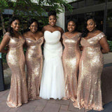 Sparkly Off The Shoulder Sequins Shiny Long Sheath Bridesmaid Dresses M983