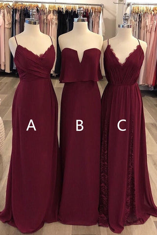 Pertty Newest Spaghetti Straps Long A-line Lace Chiffon Bridesmaid Dresses For Wedding M986