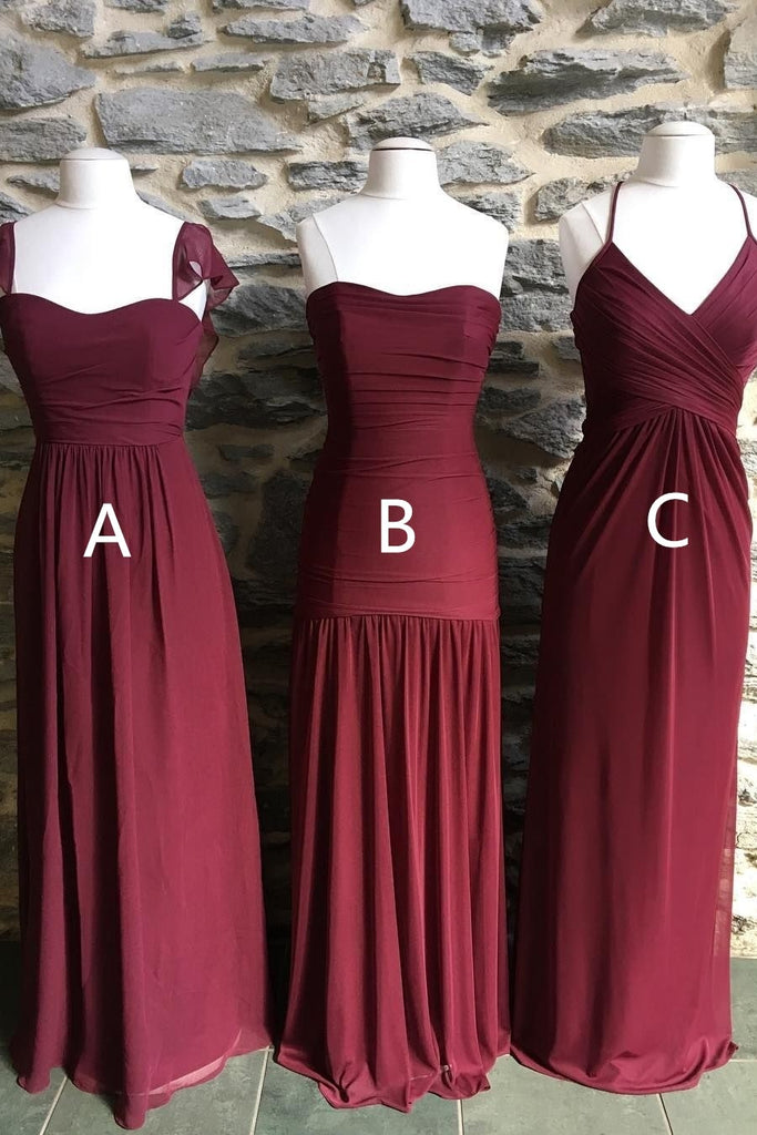 Simple Burgundy Chiffon Long Elegant Bridesmiad Dresses Wedding Party Dresses M987