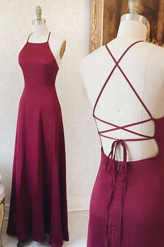 A-line Spaghetti Straps Long Backless Floor Length Bridesmaid Dresses Party Dress M988
