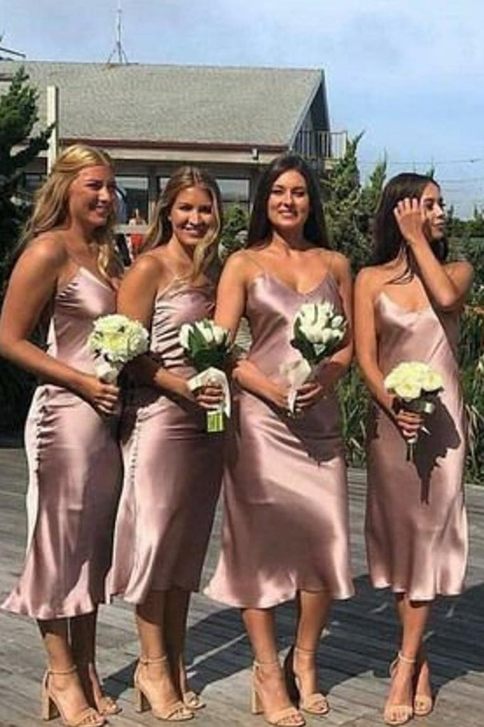 Casual Tea Length Spaghetti Straps Bridesmaid Dresses Simple Party Dress M989