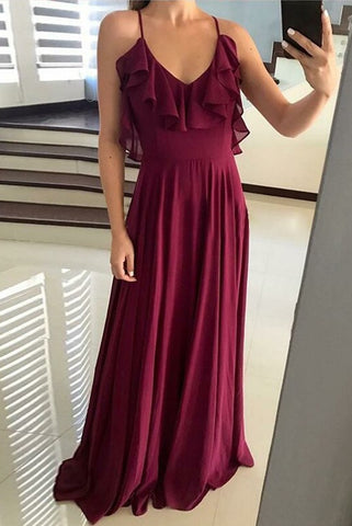 Pretty Spaghetti Straps Burgundy Chiffon Long Prom Dresses With Ruffles Bridesmiad Dresses M990