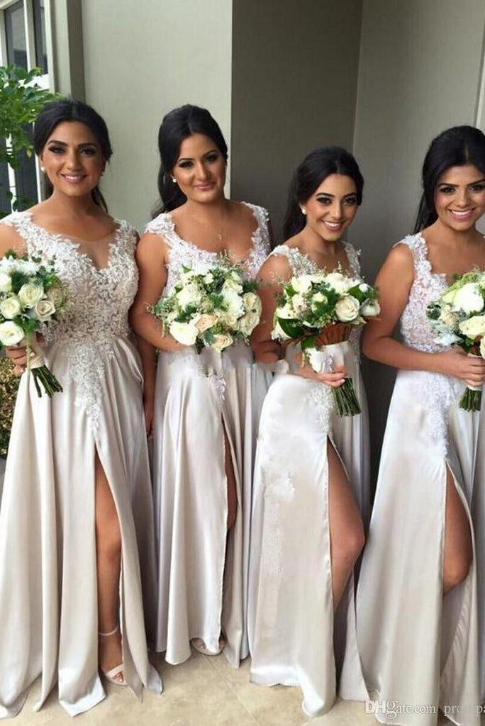 Modest A-line Floor Length Prom Dress Beauty Bridesmaid Dresses With Appliques M991