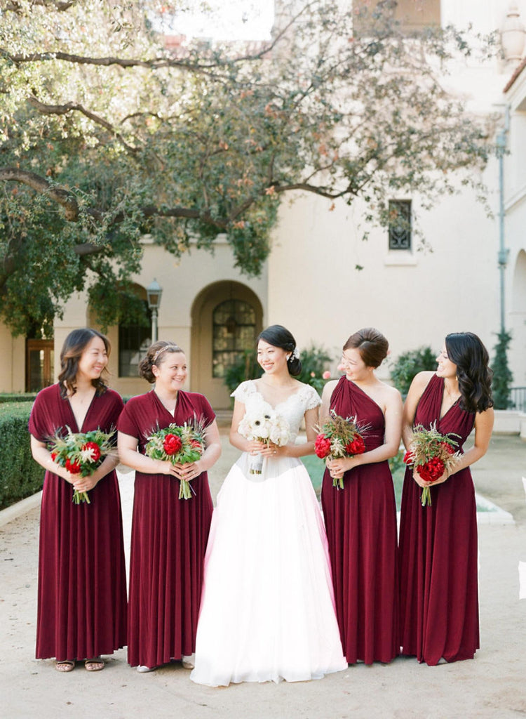 Long Floor Length Burgundy Bridesmaid Dresses Simple Wedding Party Dresses M993