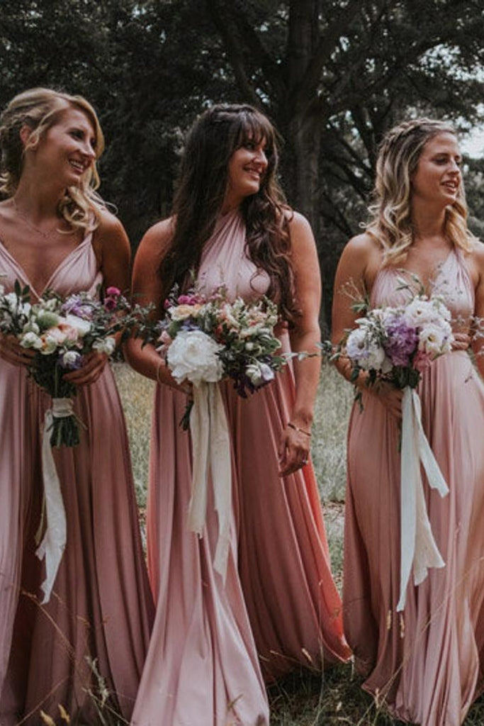 Classy Pink Long Simple Bridesmaid Dresses For Wedding Cute Bridesmaid Gowns M994