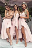 Chic Simple Long Party Prom Dresses Spaghetti Straps Pink Bridesmiad Dress M995