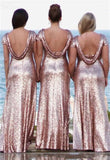 Rose Gold Backless Long Sheath Sequin Shiny Bridesmaid Dresses Pretty Party Dress M999