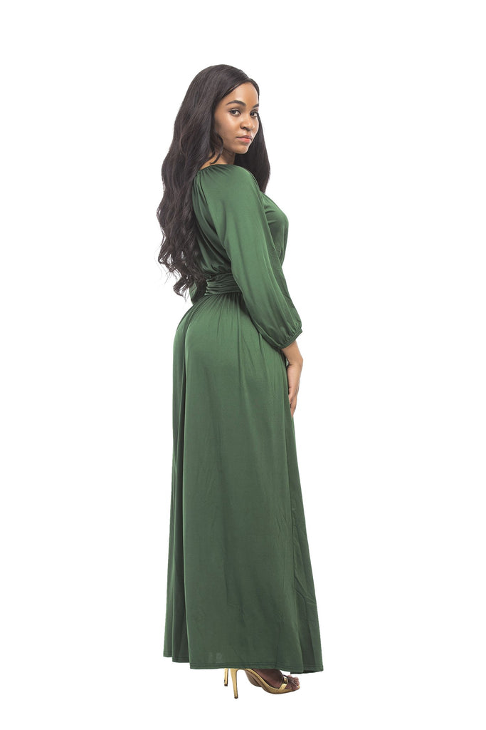 Unique A Line Round Neck Long Sleeve Prom Dresses with Floor Length Prom Gowns FP3005
