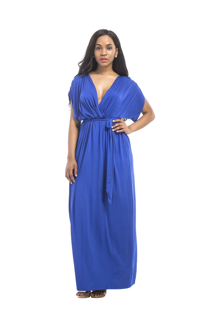 V-neck Belted Long Dress Formal Party Dress FP3310