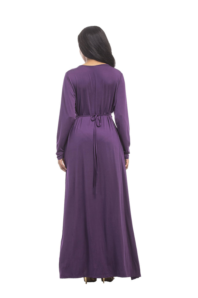 Elegant Purple A Line Long Sleeve Ruffles Belt Long Prom Dresses FP3107