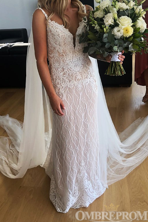 Mermaid Bridal Gown Spaghetti Straps V Neck Backless Lace Wedding Dress W647