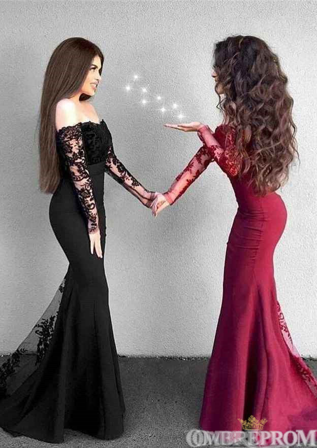 Mermaid Prom Dress Off Shoulder Long Sleeves Lace Party Dress D75