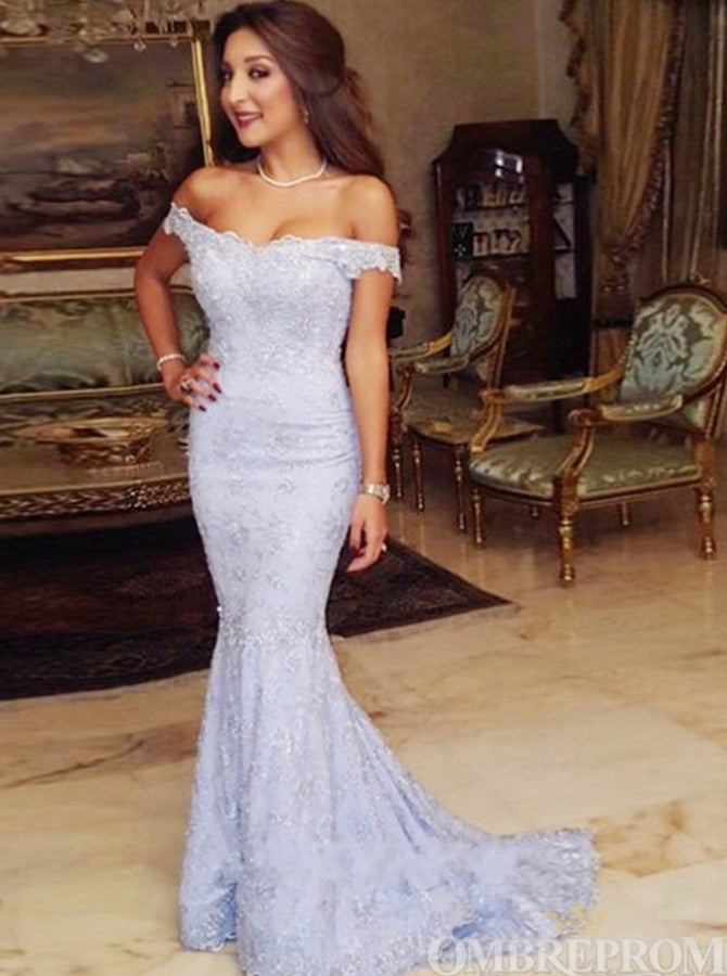 Mermaid Prom Dress Off Shoulder Sweep Train Lace Evening Dress D51