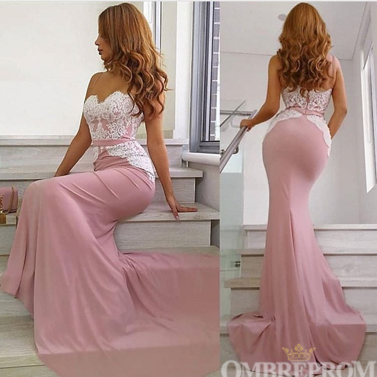 Mermaid Sweetheart Sleeveless Lace Top Seep Train Prom Dress D57