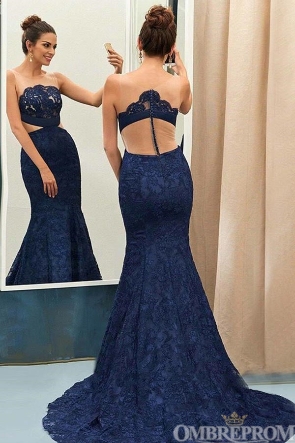 Navy Blue Mermaid Appliques Sweep Train Lace Prom Dress D62