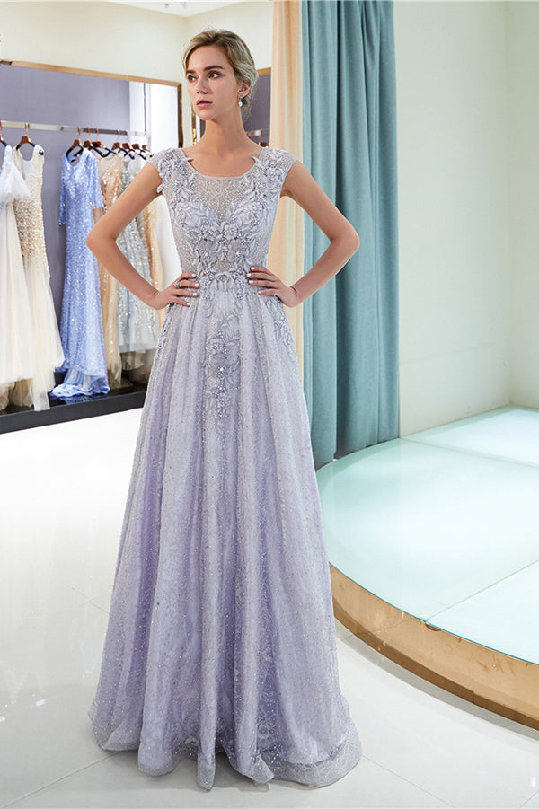 Elegant Tulle Round Neck Floor Length With Appliques Prom Dress P746