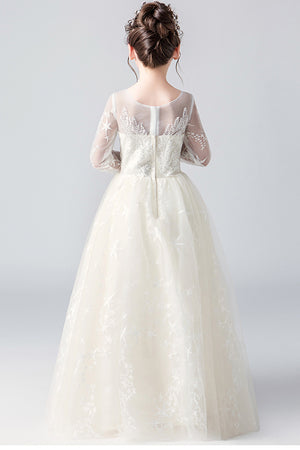 Sparkly Round Neck Long Sleeves With Sequins Floor Length Flower Girl Dresses F88