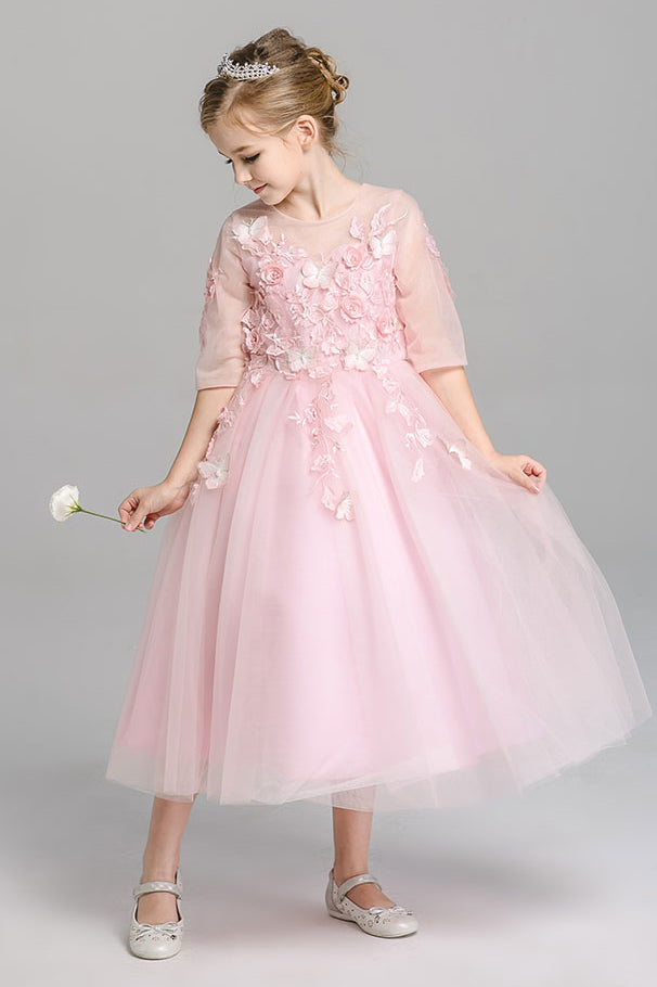 A Line Round Neck 3/4 Sleeves With Appliques Tea Length Flower Girl Dresses F90 - Ombreprom