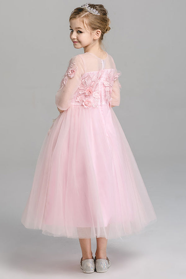 af5b9c5960a A Line Round Neck 3 4 Sleeves With Appliques Tea Length Flower Girl Dresses  F90