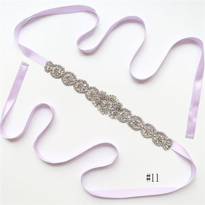 Gorgeous Long Crystal Sashes with Ribbon A02