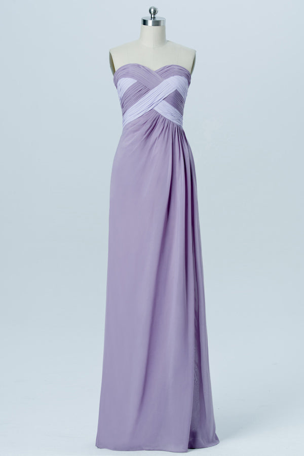 Lavender Grey Sweetheart Strapless Simple Bridesmaid Dresses,Mid Back Long Bridesmaid Gowns