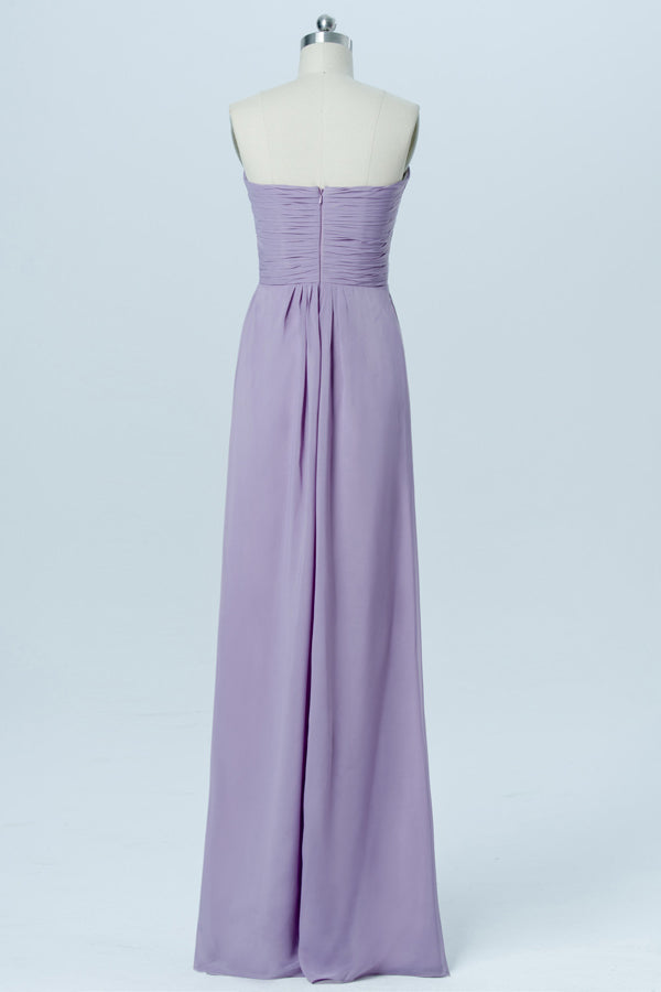 Lavender Grey Sweetheart Strapless Bridesmaid Dresses,Long Bridesmaid Gowns OB100