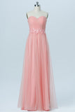 Apricot Blush Sweetheart Strapless Tulle Up Appliques Long Bridesmaid Dresses OB101 - Ombreprom