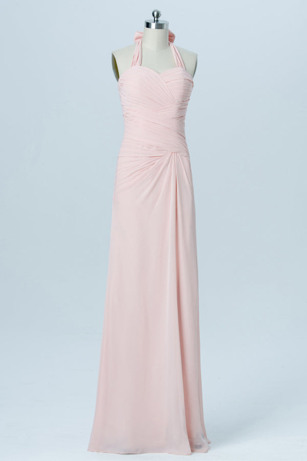 Soft Pink Sweetheart Halter Short Bridesmaid Dresses,Open Back Simple Bridesmaid Gowns