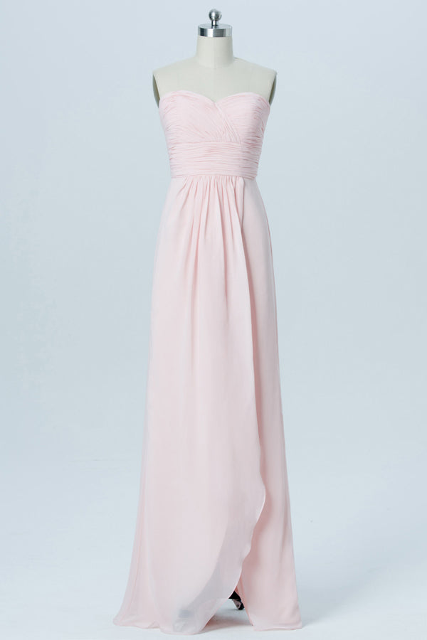 Soft Pink Sweetheart StraplessShort Bridesmaid Dresses,Open Back Simple Bridesmaid Gowns