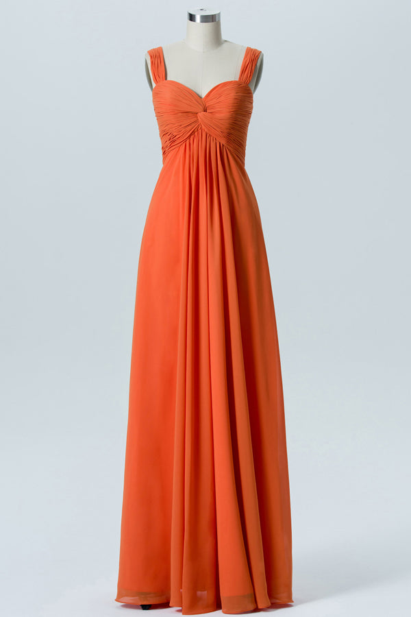 Mandarin Orange Sweetheart Cheap Bridesmaid Dresses,Open Back Simple Bridesmaid Gowns