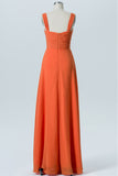 Mandarin Orange Sweetheart Cheap Bridesmaid Dresses,Open Back Simple Bridesmaid Gowns OB105