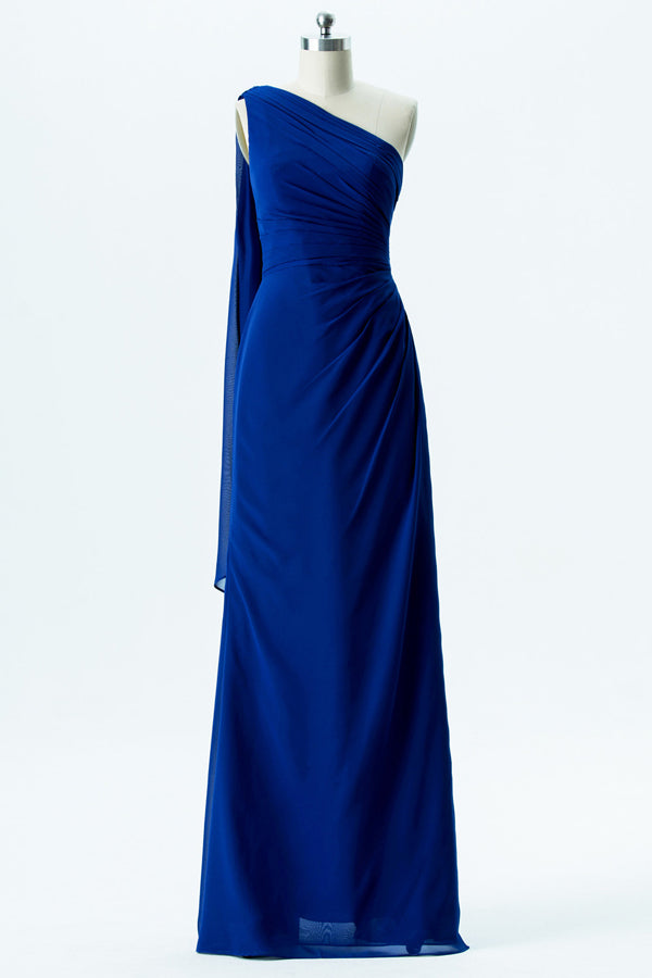 Twilight Blue One Shoulder Cheap Bridesmaid Dresses,Open Back Simple Bridesmaid Gowns