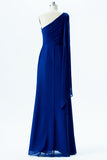 Twilight Blue One Shoulder Cheap Bridesmaid Dresses,Open Back Simple Bridesmaid Gowns OB106 - Ombreprom