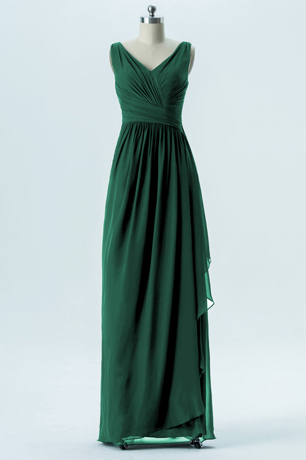 Hunter Green V Neck Cheap Bridesmaid Dresses,Open Back Simple Bridesmaid Gowns