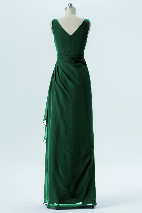 Hunter Green V Neck Cheap Bridesmaid Dresses,Open Back Simple Bridesmaid Gowns OB107