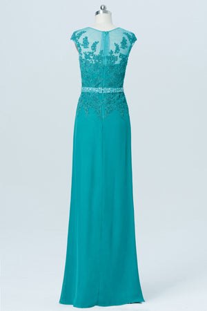 Peacock Green Sheer Back Cheap Bridesmaid Dresses,Appliques Beading Simple Bridesmaid Gowns OB108 - Ombreprom