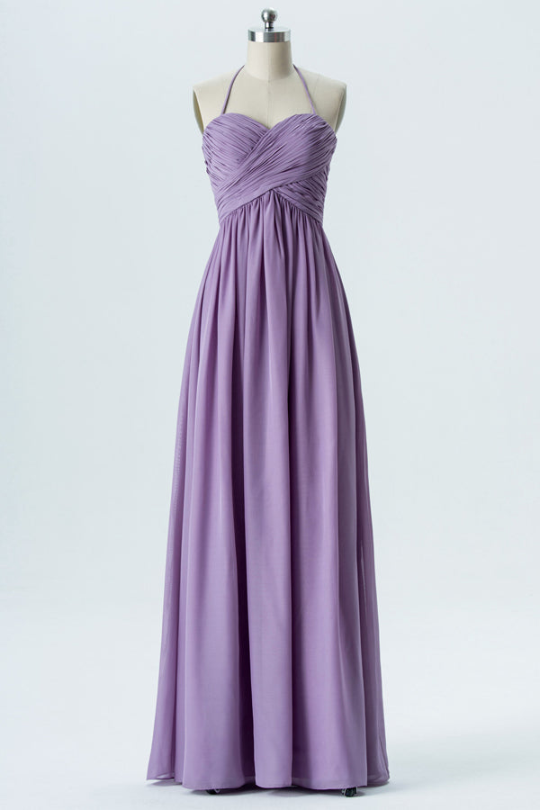 Lavender Grey Halter Long Bridesmaid Dresses,Open Back Cheap Bridesmaid Gowns