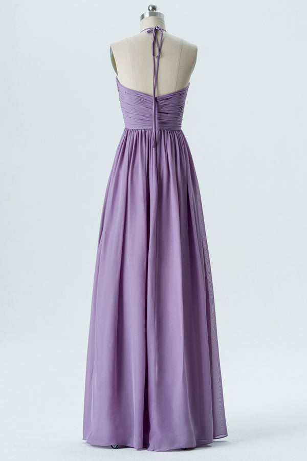 Lavender Grey Halter Long Bridesmaid Dresses,Open Back Cheap Bridesmaid Gowns OB109