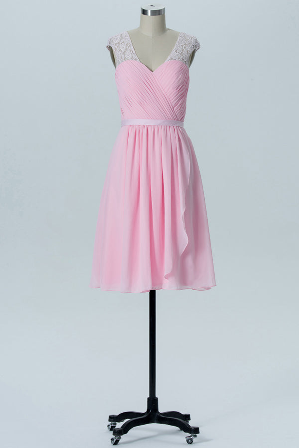 Barely Pink Sweetheart Short Bridesmaid Dresses,Open Back Cheap Bridesmaid Gowns OB110 - Ombreprom