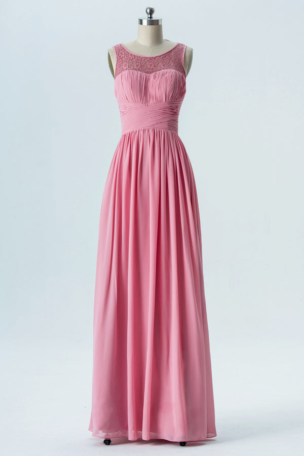 Dusty Rose Sheer Long Bridesmaid Dresses,Sleeveless Cheap Bridesmaid Gowns