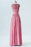 Dusty Rose Sheer Long Bridesmaid Dresses,Sleeveless Cheap Bridesmaid Gowns OB112