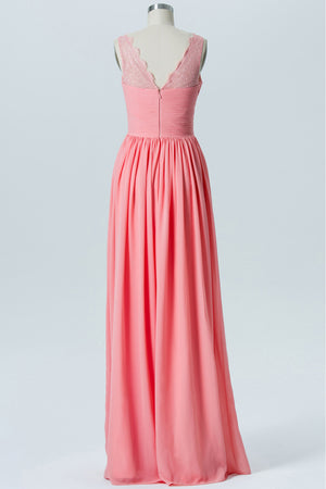 Apricot Blush V Neck Floor Length Bridesmaid Dresses,Open Back Simple Bridesmaid Gowns OB115 - Ombreprom