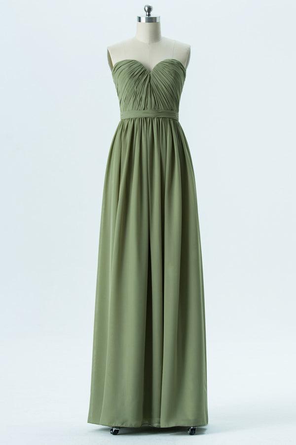 Pale Moss Green Sweetheart Floor Length Bridesmaid Dresses,Mid Back Simple Bridesmaid Gowns