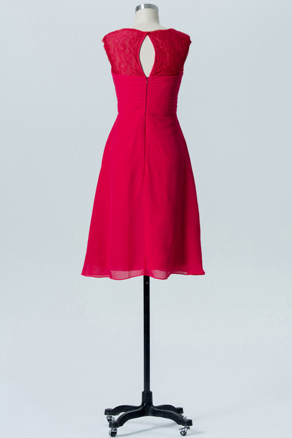 Red Sweetheart Knee Length Bridesmaid Dresses,Appliques Simple Bridesmaid Gowns OB117 - Ombreprom