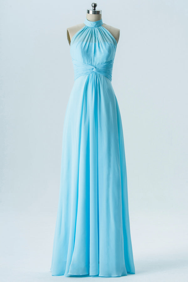 Halter Floor Length Bridesmaid Dresses Open Back Simple Bridesmaid